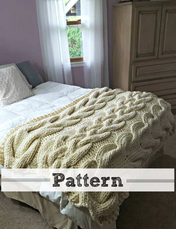 Chunky Cable Knit Blanket Pattern : Chunky Oversized Cable Knit Blanket PATTERN