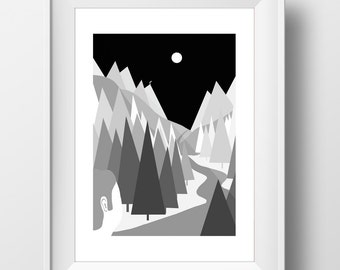 Alternate Moon Woodland Scene Forest Print - Graphic Art Illustration - Digital - Monochrome - Greyscale - Atmospheric