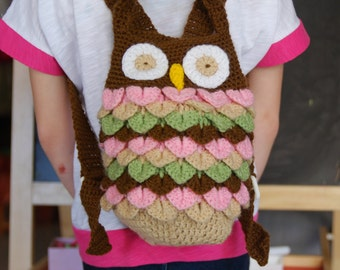 Cute Kids owl bag. Crochet backpack for toddlers. Owl like bag. Birthday gift. Gift under 30euros. Brown, pink, pistachio green and biege.