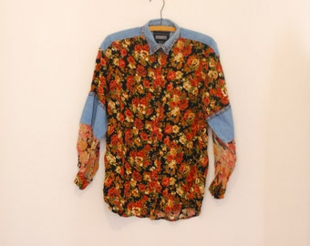 Oversized, Floral Patchwork and Denim Shirt - 1980s