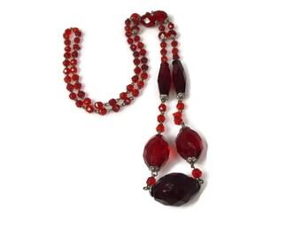 Art Deco Red Czech Glass Necklace
