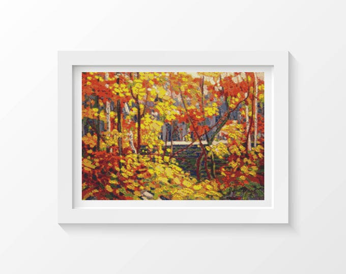 Cross Stitch Pattern PDF, Embroidery Chart, Scenery Cross Stitch, The Pool by Tom Thomson (THOMS01)