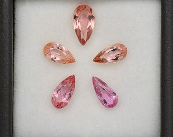 Excellent Peachy Pink Imperial Topaz Gemstone Set from Brazil 3.03 tcw.