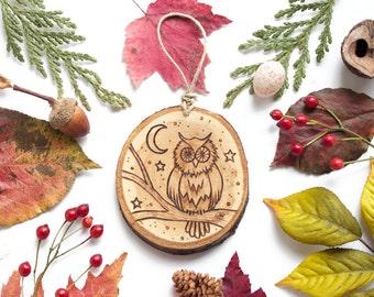 "Personalized Owl Wood Slice Ornament - MEDIUM 2.75"", Owl Ornament, Wood-Burned Ornament, Rustic Customized Wood Ornament, Moon Ornament"