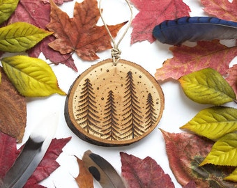 """Pine Trees Wood Slice Ornament - SMALL 2.5"""", Natural Wood-Burned Ornament, Customized Wood Ornament, Tree Ornament, Celestial Moon and Star"""