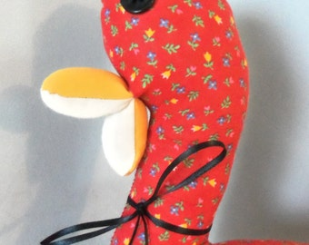 Red Floral Cotton Print Stuffed Duck