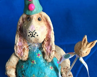 Paper Mache Bunny Sculpted OOAK Figure