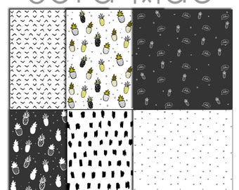 Aloha tropical digital papers clipart. 6 PNG files. 300 dpi. Instant download.