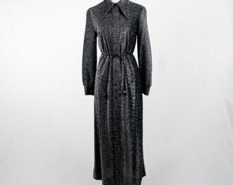 1970s Huge Collar Black Silver Lurex Maxi Shirt Dress