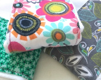 Floral Baby Burp Cloths Set Handmade Upcycled Cloth Diapers