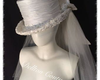 Victorian Gothic Ivory Silk and Lace Top Hat...Full Size Hat