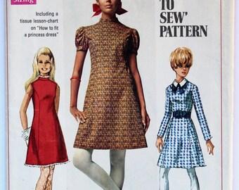 Shift Dress Sewing Pattern 1960s Women's High-Neck A-Line Shift Dress Vintage Size 13/14 Teen Simplicity 7776