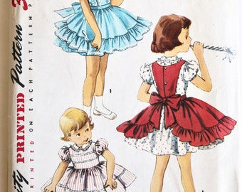 Vintage 1950s/1960s Girls Full-Skirted Dress and Apron Sewing Pattern Size 5 Simplicity 1399