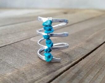 Turquoise ring - boho turquoise ring - silver boho ring - hammered silver ring - turquoise stone - boho silver ring - Turquoise stone ring
