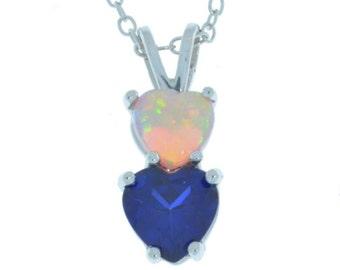 Blue Sapphire & Pink Opal Heart Double Pendant .925 Sterling Silver