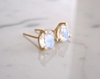 Moonstone Earrings - Moonstone Stud Earrings, June Birthstone, Rainbow Moonstone, Rose White or Yellow Gold, Martini