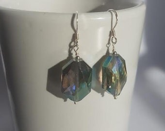 Crystal Earrings, Silver Earrings, AB Earrings, Blue, Turquoise.