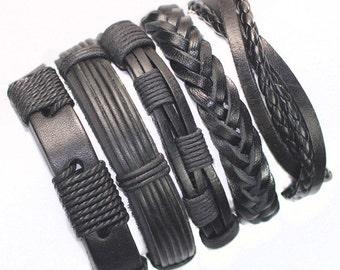 Black Wristband Genuine Leather. Braided Wrap Bracelet.