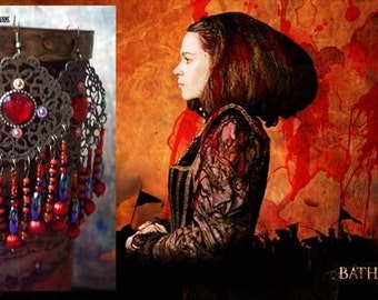 BÁTHORY Earrings, the Blood Countess Jewelry, Red Black and Orange colours, dangle filigree brass, beaded wire charms, red heart rhinestones