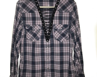 LF inspired Top - Lace Up Vintage Flannel Navy Red oversized lace up grunge flannels
