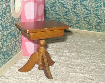 Miniature dollhouse vintage wooden side table