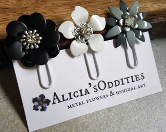 Gray Black and White Planner Clips Metal Flower Planner Clips Flower Paper Clips Bookmarks Grey Black Flower Bookmark Journal Clip Set PCL1
