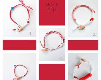 March bracelet- red and white wrap bracelet- spring bracelet- greek traditional bracelet- martakia