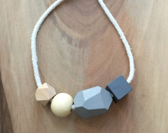 Grey Wooden Bead & Rope Necklace