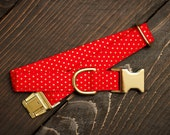 Christmas Dog Collar - Red and Gold Polka Dot Collar, Dog Lover Gift, Pet Collar, Dog Stocking Stuffer, Puppy Collar, Female, Male, Pet