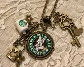 "Vintage Pendant, Charm Necklace. Yummy Coffee Beverage, ""Minnie Macchiato"".  Antique Bronze Tone."