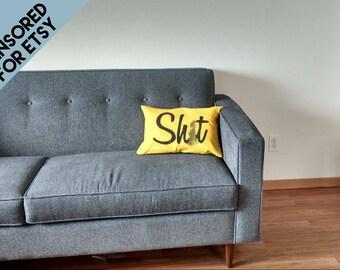 "14"" x 22"" Curse word pillow case, customizable, bachelor housewarming, novelty throw pillows, joke gift, profanity, cussing, dorm decor"