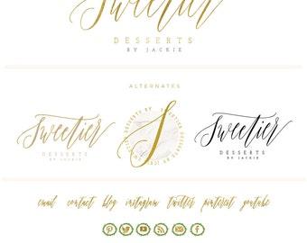 bakery logo -  marble logo design  - calligraphy logo - desserts logo - gold logo -  floral mixer logo - freshmint paperie