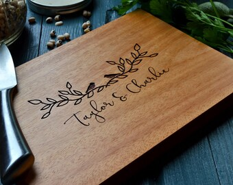 """Personalized cutting / cheese board, engraved Mahogany wood, """"two little birds"""" for wedding or anniversary gift"""