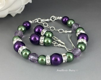 Dark Purple and Green Bracelet, Pearl Bracelet, Bridesmaids Gift, Jewelry Sets, Beaded Bracelet, Hunter Green, Gift under 20