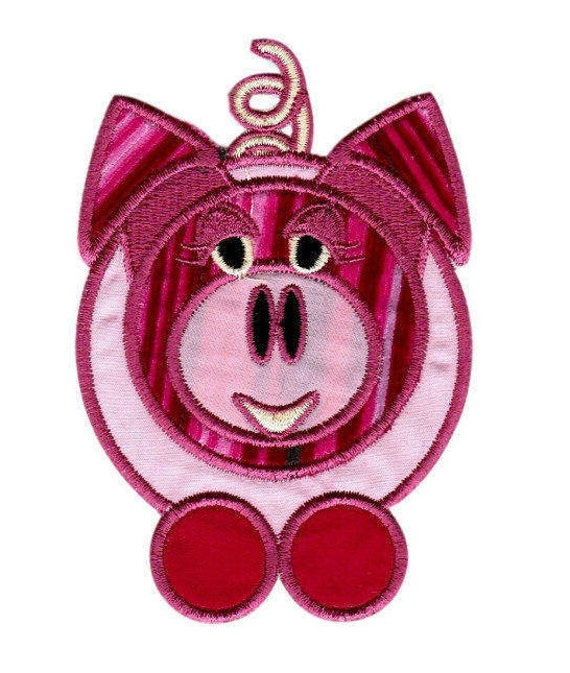 Pink Pig Embroidered Appliques, Iron On Patches, Front and Back Embroidered Patches