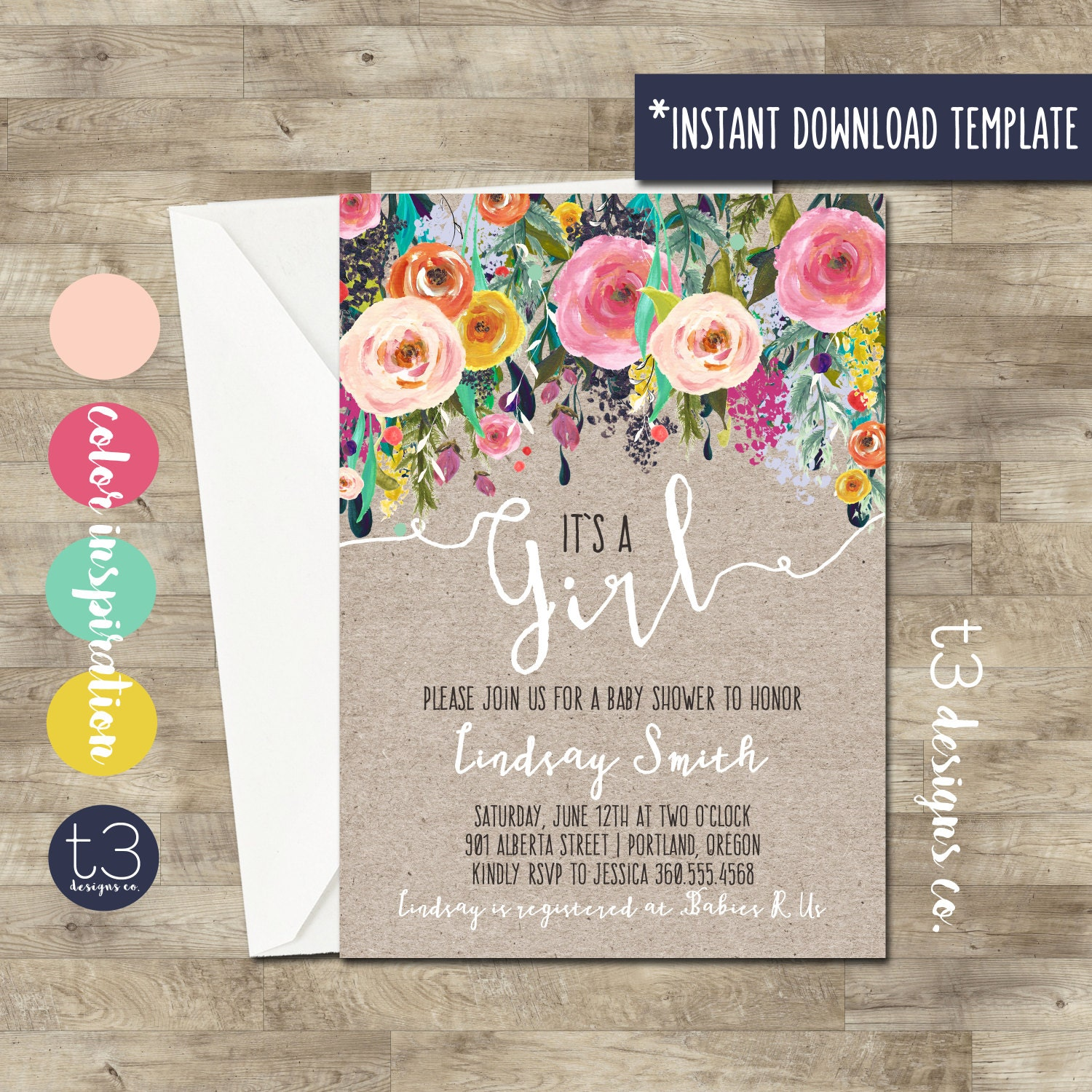 Instant Whimsical Baby Girl Shower Invitation diy pdf girl baby