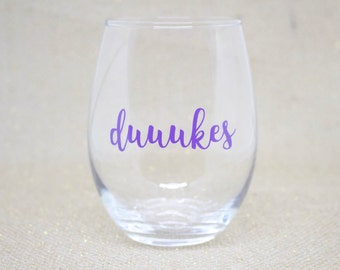 JMU Dukes Stemless Wine Glass / JMU Graduation Gift / JMU Christmas Gift