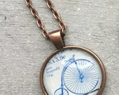 Postage Stamp Necklace with Bicycle