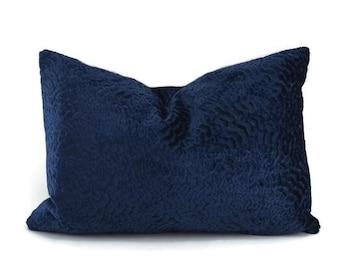 Navy Cut Velvet Lumbar Throw Pillow Cover, Navy Velvet Pillow Cover, Swirly Cut Velvet Pillow Cover, 12x18