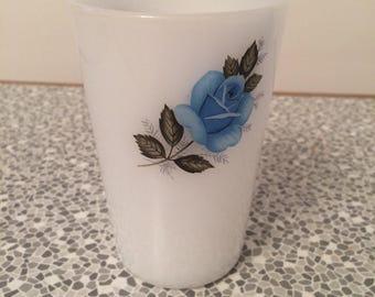 White Pyrex Beaker with blue rose design