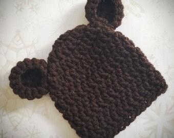 Newborn Baby Brown Bear Ear Hat