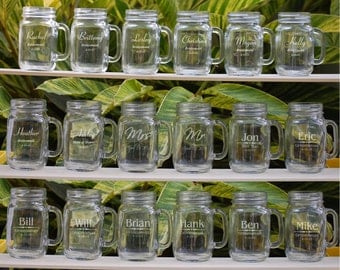 Personalized Wedding Favors, Mason Jars Bulk, 10 Personalized Wedding Party Gift Groomsmen, Bridesmaid Gift, Bridal Party Favor Wedding