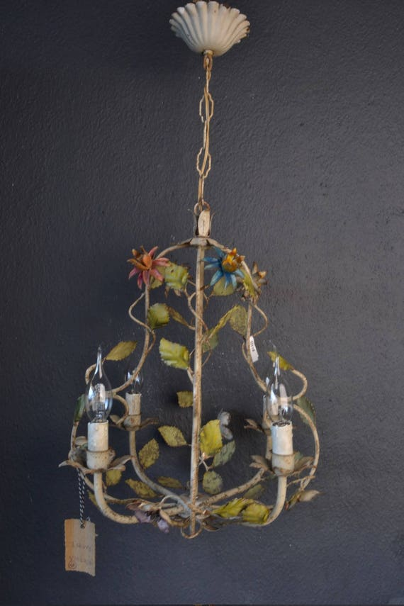 Wonderful  toleware chandelier with metal flowers