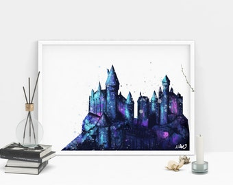 Hogwarts Watercolor Style Wall Art Print. Harry Potter Castle Artwork. Fantastic Beasts. Hogwarts School of Witchcraft and Wizardry. Magic.