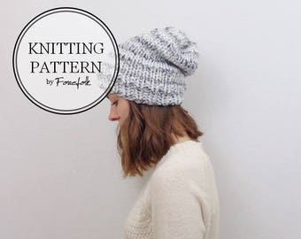 Knitting Pattern | Knit Slouchy Hat | THE BROOKLYN Instant Download