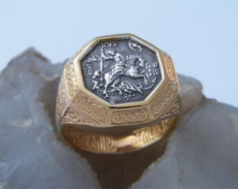 """Handcrafted.925 Sterling Silver Russian Orthodox Ring """"St. George The Concueror"""" 18 K Gold Pated  1 micron Thickness_Custom Size"""