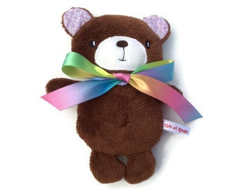 PROMO plush teddy bear rattle, little bear plush Brown fleece ears lilac and multicolor Ribbon, baby gift, shower gift