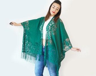 40%OFF Lace Kimono Boho Kimono Teal Kimono Fringe Kimono Fringe Pareo Wife Gift For Aunt For Her Girlfriend Gift For Mom / KIMONO