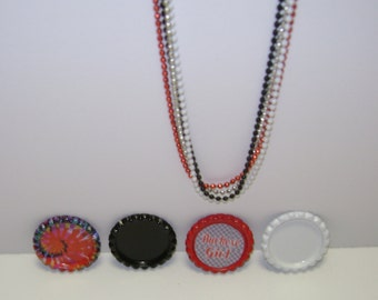 Ohio State Flattened Bottle Cap Necklace!Choice of Necklace,Pins, Magnets, Pendant(No Hole), Pendant(With Hole), Ornaments!