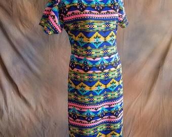 Colorful Modest Aztec Pattern Dress